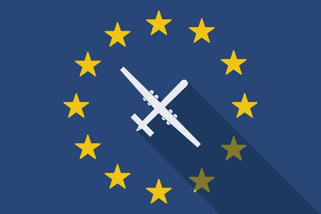 community surveillance: Illustration of an European Union long shadow flag with a war drone Illustration