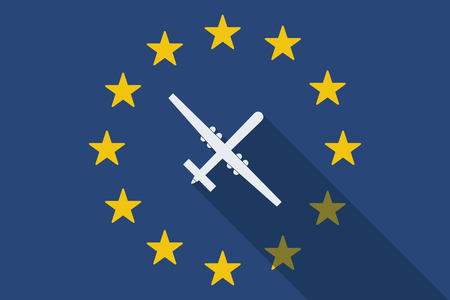 Illustration of an European Union long shadow flag with a war drone Illustration