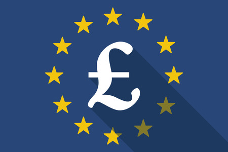 Illustration of an European Union long shadow flag with a pound sign