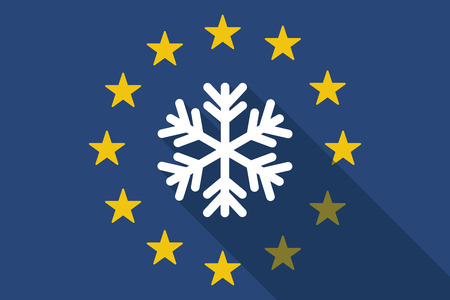 commission: Illustration of an European Union  long shadow flag with a snow flake