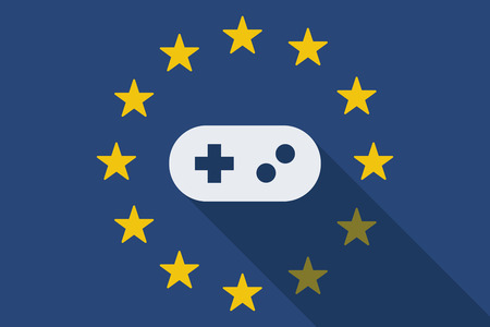 game pad: Illustration of an European Union  long shadow flag with a game pad