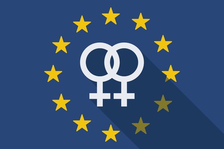 nude lesbian: Illustration of an European Union long shadow flag with a lesbian sign