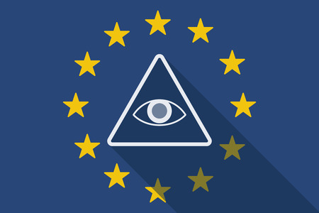 illuminati: Illustration of an European Union  long shadow flag with an all seeing eye