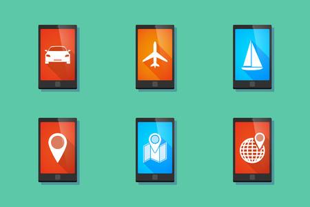 travel phone: Illustration of a long shadow travel    phone set