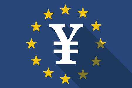 yen sign: Illustration of an European Union long shadow flag with a yen sign
