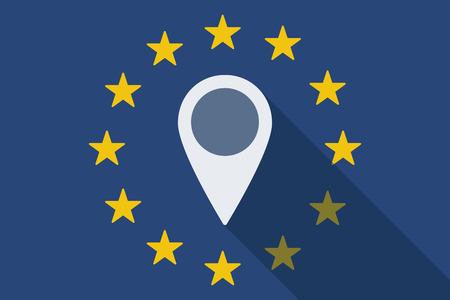 european euro: Illustration of an European Union long shadow flag with a map mark