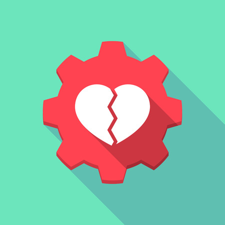 Illustration of a long shadow gear icon with a broken heart Illustration