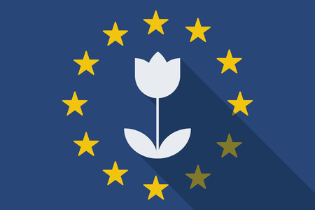 Illustration of an European Union  long shadow flag with a tulip