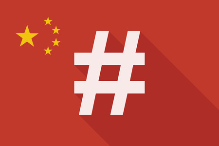 hash: Illustration of a China long shadow flag with a hash tag Illustration