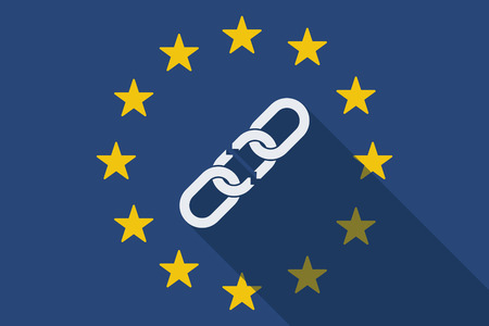 cadena rota: Ilustración de una bandera larga sombra de la Unión Europea con una cadena rota