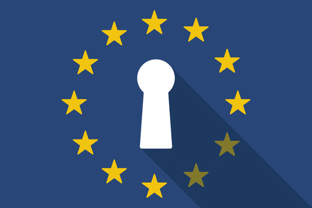 secret society: Illustration of an European Union  long shadow flag with a key