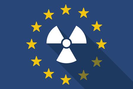 radio activity: Illustration of an European Union long shadow flag with a radio activity sign Illustration
