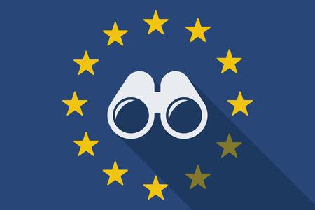 community surveillance: Illustration of an European Union long shadow flag with a binoculars