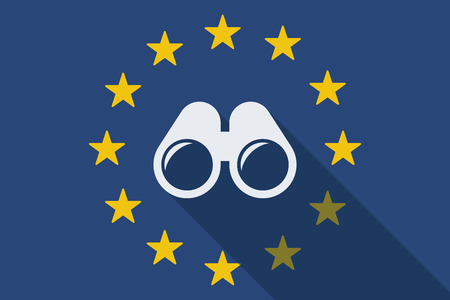 Illustration of an European Union long shadow flag with a binoculars