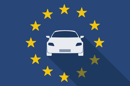 european flags: Illustration of an European Unionlong shadow flag with a car Illustration
