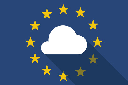 Illustration of an European Union  long shadow flag with a cloud