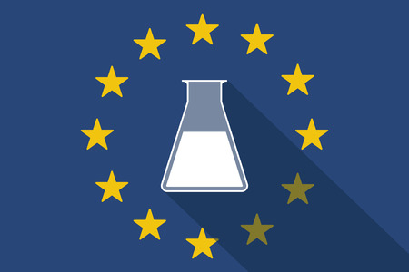 commission: Illustration of an European Union  long shadow flag with a chemical test tube