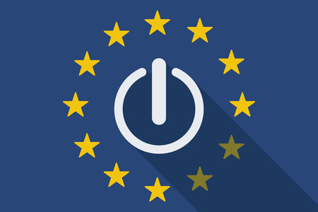 commission: Illustration of an European Union  long shadow flag with an off button Illustration