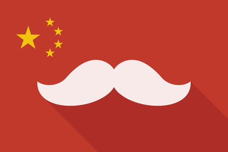 Illustration of a China long shadow flag with a moustache