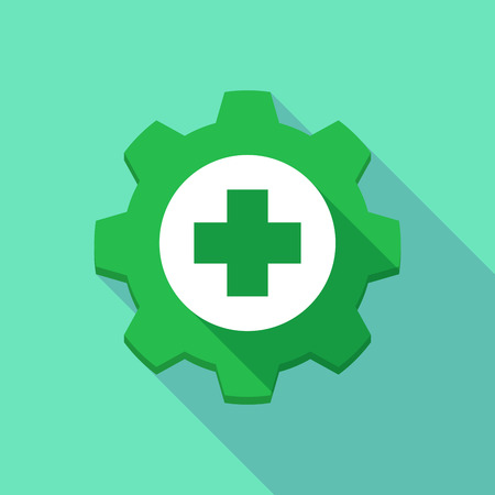 pharmacy store: Illustration of a long shadow gear icon with a pharmacy icon Illustration