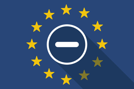 subtraction: Illustration of an European Union long shadow flag with a subtraction sign
