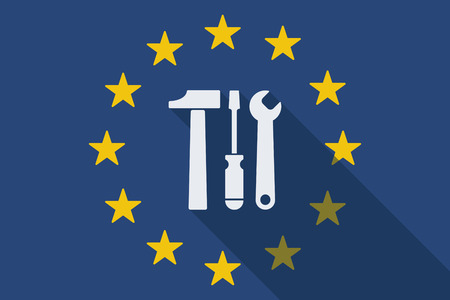 commission: Illustration of an European Union long shadow flag with a tool set