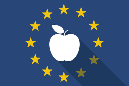 nations: Illustration of an European Union long shadow flag with an apple