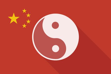 karma graphics: Illustration of a China long shadow flag with a ying yang