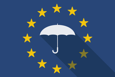 commission: Illustration of an European Union  long shadow flag with an umbrella