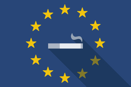 cigar shape: Illustration of an European Union  long shadow flag with a cigarette