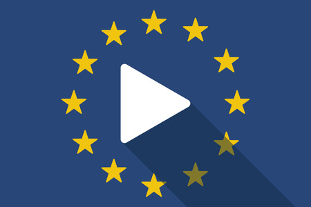 long play: Illustration of an European Union  long shadow flag with a play sign