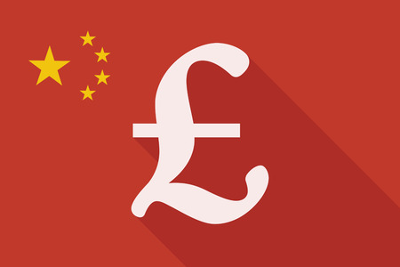 pound sign: Illustration of a China long shadow flag with a pound sign