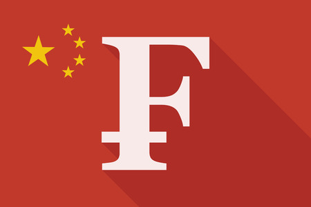 swiss flag: Illustration of a China long shadow flag with a swiss frank sign