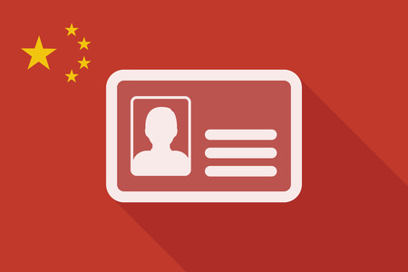 identification card: Illustration of a China long shadow flag with an id card Illustration
