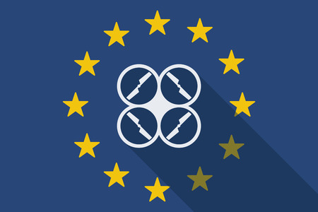 community surveillance: Illustration of an European Union  long shadow flag with a drone