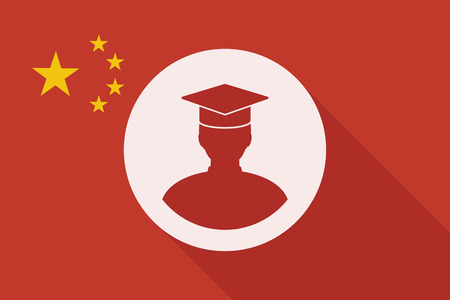 bachelor's: Illustration of a China long shadow flag with a student