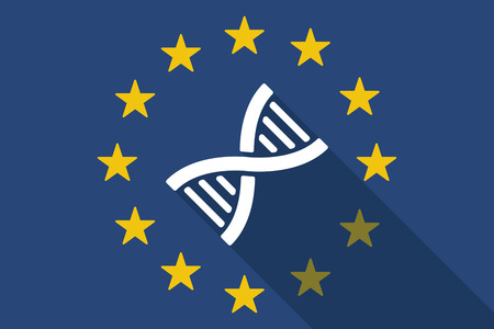 transgenic: Illustration of an European Union long shadow flag with a DNA sig