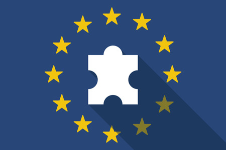 european flags: Illustration of an European Union  long shadow flag with a puzzle piece Illustration