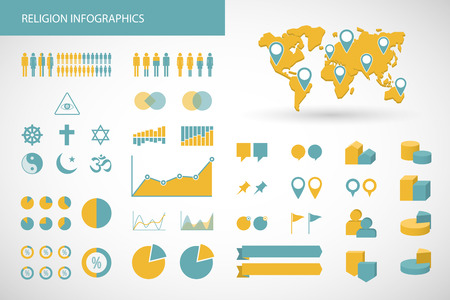 religion: illustration of a  religion  related infographics kit