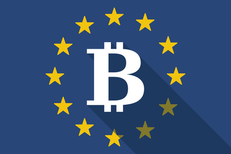 p2p: Illustration of an European Union  long shadow flag with a bit coin sign