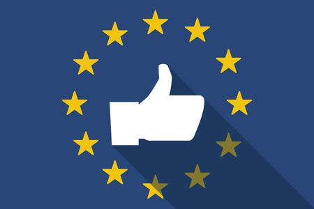 commission: Illustration of an European Union  long shadow flag with a thumb up hand Illustration