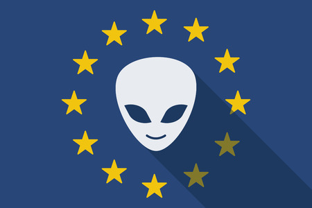 alien face: Illustration of an European Union long shadow flag with an alien face Illustration