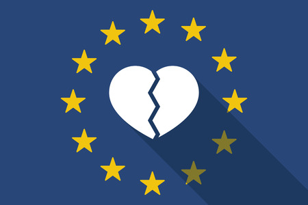 Illustration of an European Union  long shadow flag with a broken heart