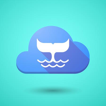 the tail: Ilustraci�n de un icono de la nube con una cola de ballena Vectores