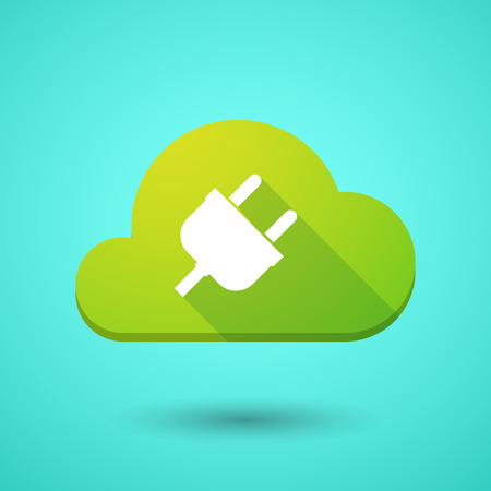 network connection plug: Illustration of a cloud icon with a plug Illustration