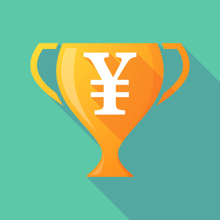 yen sign: Illustration of a trophy icon with a yen sign