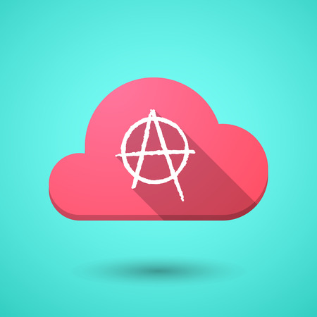 anarchy: Illustration of a cloud icon with an anarchy sign