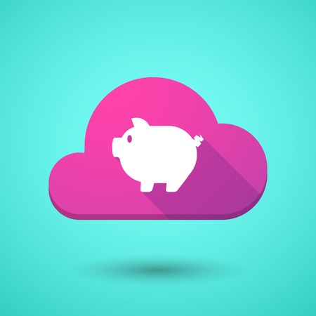 bacon art: Illustration of a cloud icon with a pig