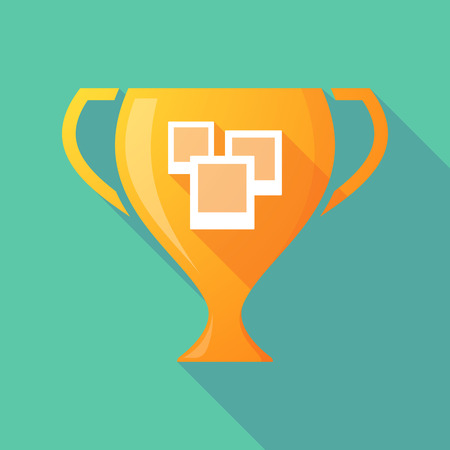 few: Illustration of a trophy icon with a few photos