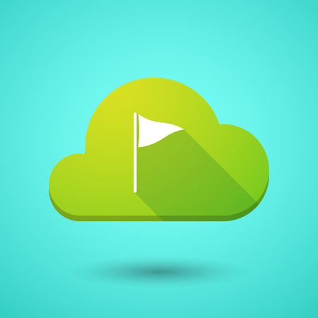cloud computer: Illustration of a cloud icon with a golf flag